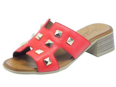 Articolo Melluso Walk K56018 Rosso Sandali Scalsati con tacco per Donna in pelle