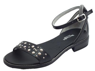 Articolo NeroGiardini P908233D Leon Nero sandali donna tacco basso allaccio caviglia
