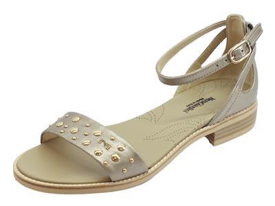 Articolo NeroGiardini P908233D Oxigen Cipria sandali donna tacco basso allaccio caviglia