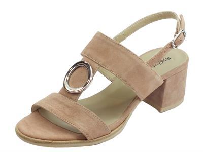 NeroGiardini P908251D Capra Scam. Phard sandali donna tacco basso in camoscio
