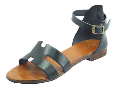 Articolo Nuova Cuoieria B53-49 Nero Sandali artigianali con fibietta per donna in pelle tacco basso