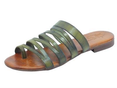 Articolo Nuova Cuoieria Y220-49 Militare Sandali artigianali infra-alluce donna pelle verde tacco basso