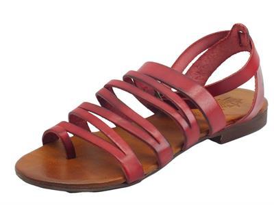 Nuova Cuoieria Y221-49 Rosso Sandali artigianali infra-alluce fibietta per donna pelle tacco basso