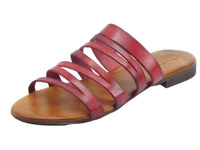 Articolo Nuova Cuoieria Y225-49 Rosso Sandali Artigianali per donna in pelle tacco basso