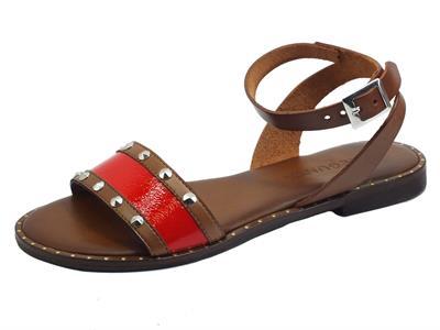 Articolo Pregunta CB35354VK Cuoio Rosso Sandali Donna tacco basso in pelle con cinturino