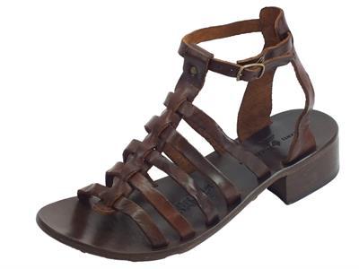 Sandali artigianali per donna Mercanti Fiorentini in pelle tuffata mogano fondo cuoio