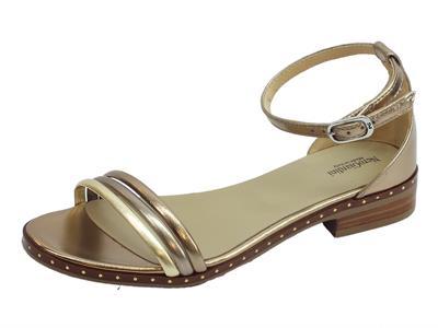 Articolo Sandali donna NeroGiardini in laminato oro e bronzo tacco basso
