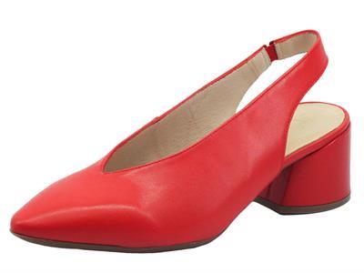 Articolo Wonders I-8030 Iseo Rojo Sandali chiusi con tacco basso per donna in pelle rosso