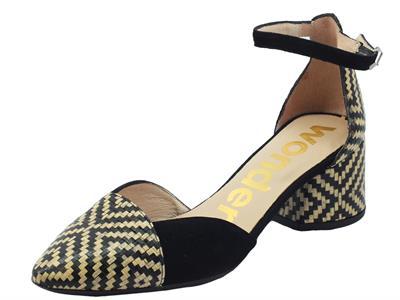 Articolo Wonders I-8031 Miami Negro Sandali a punta per Donna in pelle nero e beige con tacco basso