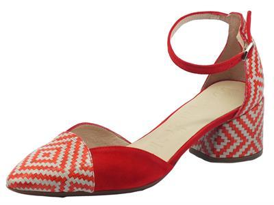 Articolo Wonders I-8031 Miami Rojo Sandali a punta per Donna in pelle rossa e beige con tacco basso