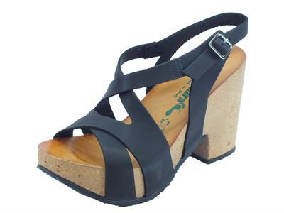 Articolo BioNatura 36 Rimini Pelle Gaucho Nero sandali incrociato tacco alto
