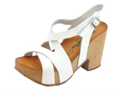 Articolo BioNatura 36 Rimini Vacchetta Bianco sandali in pelle incrociata tacco alto