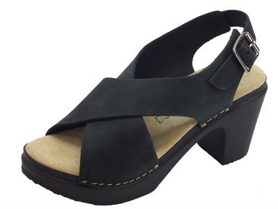 Articolo BioNatura 64 A 2055 Nabuk Val. Nero sandali in nabuk incrociato tacco alto