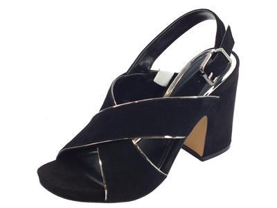 CafèNOIR sandali donna in camoscio incrociato nero con filo argento e tacco alto