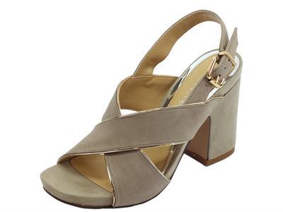 Articolo CafèNOIR sandali donna in camoscio incrociato taupe con filo argento e tacco alto