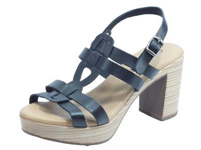 Articolo Cinzia Soft IEL4016 Negro Sandali per Donna in pelle tacco effetto legno alto e plateau