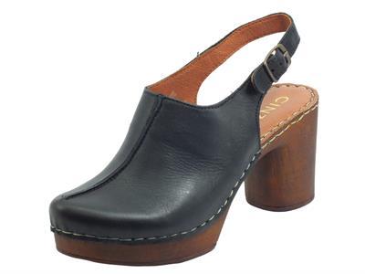 Cinzia Soft PQ9183622 Black Sandali per Donna in pelle con tacco e plateau