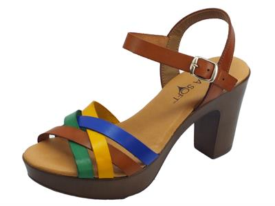 Articolo Cinzia Soft sandali con tacco alto per donna in pelle cuoio e multicolore