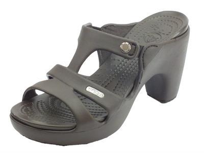 Articolo Crocs Cyprus V Heel W Espresso sandali donna in gomma marrone tacco alto