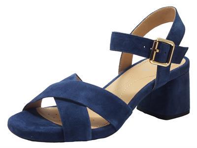Geox D02HAB Genziana Blue Sandali per Donna in ecocamoscio blu tacco alto