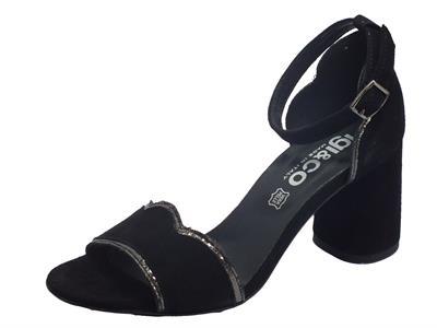 Articolo Igi&Co 5192400 Capra Scamosc. Nero Sandali Donna tacco alto in nabuk fibietta caviglia