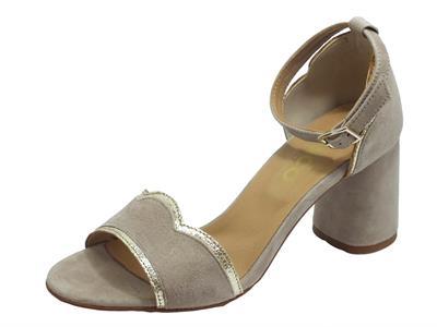 Articolo Igi&Co 5192411 Capra Scamosc. Taupe Sandali Donna tacco alto in nabuk fibietta caviglia