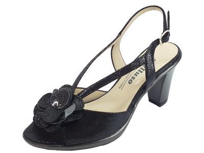 Melluso sandali eleganti con tacco alto in pelle squamata lucida nera