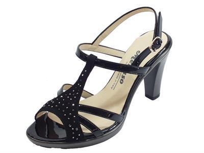 Articolo Melluso sandali eleganti con tacco alto in scamosciato e vernice nera