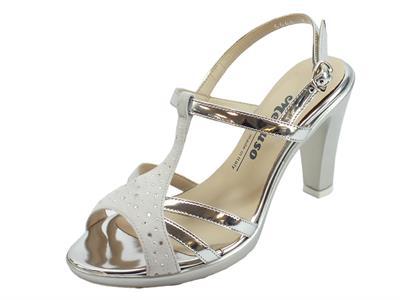 Articolo Melluso sandali eleganti tacco alto per donna in pelle argento e nabuk ghiaccio