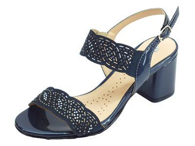Articolo Melluso sandali per donna in nabuk e vernice laserati blu con brillantini argento tacco alto