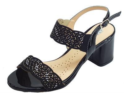 Articolo Melluso sandali per donna in nabuk e vernice laserati nero con brillantini argento tacco alto