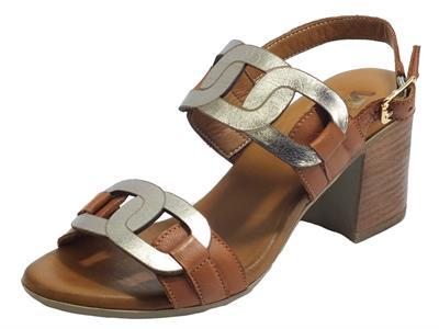 Articolo Melluso Walk K55105 Cuoio Sandali Donna in pelle cuoio ed bronzo a catena tacco alto