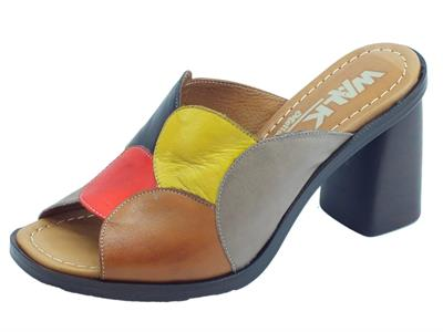Articolo Melluso Walk sandali scalsati per donna in pelle multicolore e tacco alto