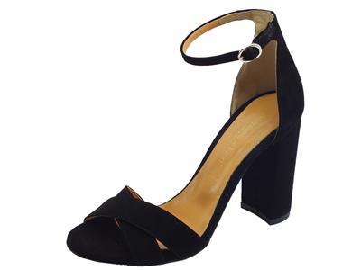 Articolo Mercanti di Fiori sandali eleganti per donna in camoscio nero tacco alto