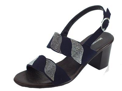 Articolo Mercanti di Fiori sandali per donna in camoscio blu con brillantini e tacco alto