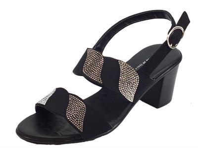 Articolo Mercanti di Fiori sandali per donna in camoscio nero con brillantini e tacco alto