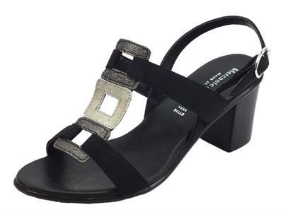 Articolo Mercanti di Fiori sandali per donna in camoscio nero pelle a quadri grigia tacco alto