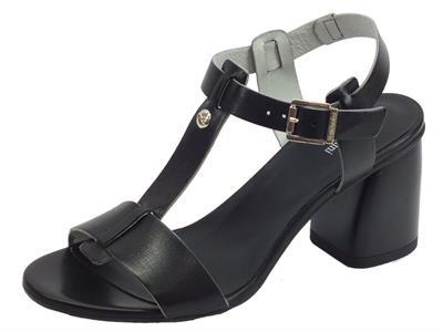 Articolo Nero Giardini P908362D P908195D Leon Nero sandali pelle nera tacco alto