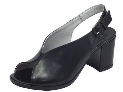 Articolo NeroGiardini E012271D Nappa Pandora Nero Sandali Donna tacco alto pelle fibia caviglia