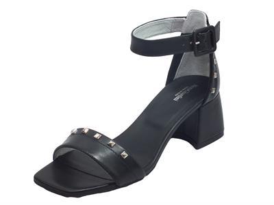 Articolo NeroGiardini E012552D Leon Nero Sandali Donna tacco alto pelle fibietta caviglia punta quadrata