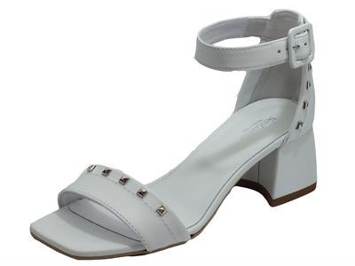 Articolo NeroGiardini E012552D Tigri Bianco Sandali Donna tacco alto pelle fibietta caviglia punta quadrata
