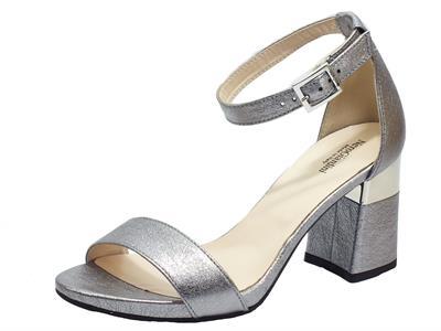 Articolo NeroGiardini E012860DE Rock Sand Acciaio Sandali eleganti per Donna  pelle satinata tacco medio