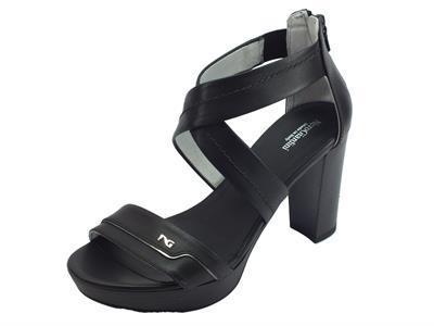 Articolo NeroGiardini P908081D Leon Nero T.Brill Antracite sandali eleganti tacco alto in pelle nera
