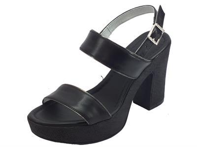 Articolo NeroGiardini P908122D Leon Nero sandali tacco e plateau alto in pelle nera
