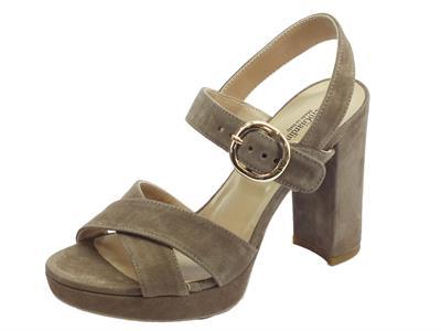 Articolo NeroGiardini P908273D Capra Scam. Talpa sandali eleganti tacco alto in camoscio talpa
