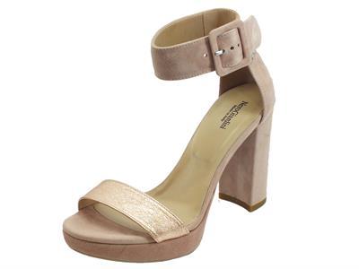 Articolo NeroGiardini P908274D Rock Sand Capra Scam Phard sandali eleganti donna tacco alto in camoscio