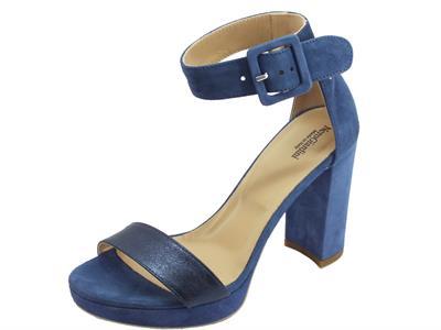 Articolo NeroGiardini P908274D Rock Sand Ocean Capra Scam sandali eleganti tacco alto in camoscio blu
