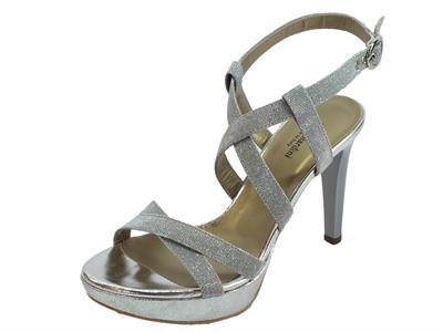 Articolo NeroGiardini P908490DE T. Notturno 500 Ghiaccio sandali eleganti tacco alto argento satinato