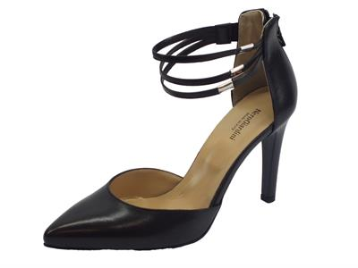 Articolo NeroGiardini sandali a punta con tacco a spillo alto e cinturino donna in pelle nera