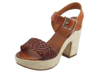 Articolo Pregunta sandali per donna a tacco alto in pelle intrecciata cuoio